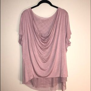 Women's Rose colored Top with Fishnet Undershirt